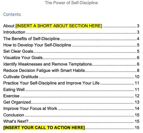 self-discipline-plr-ebook-contents