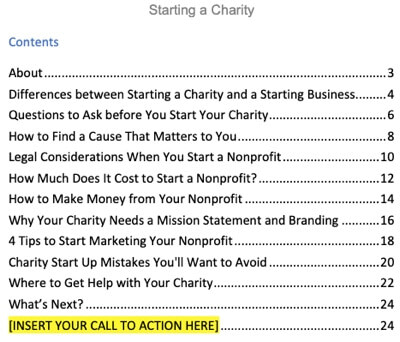 starting-a-charity-plr-report-contents