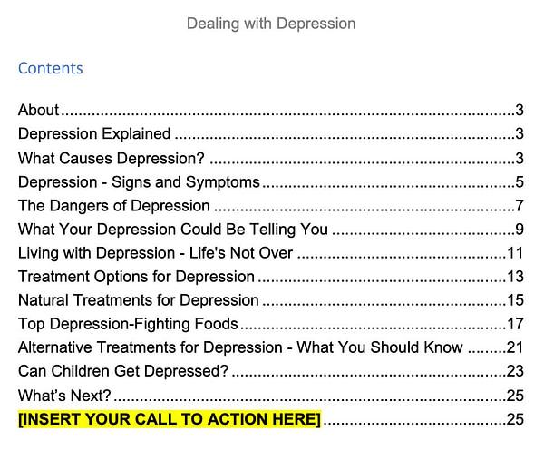 Depression plr ebook contents