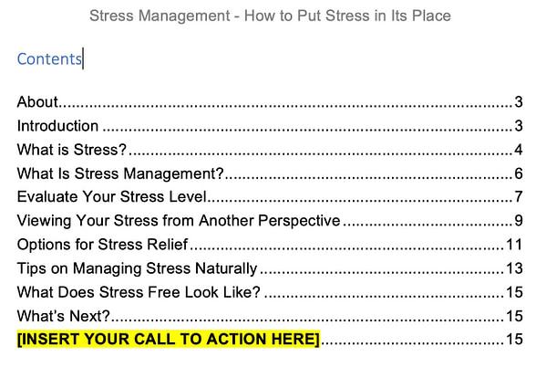 Stress-PLR-Report-1-contents