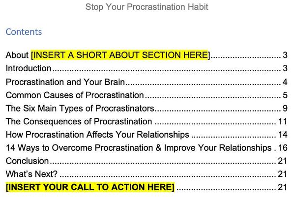 procrastination-plr-ebook-contents