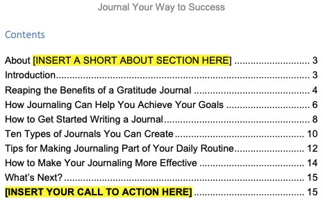 Journaling-plr-products-contents