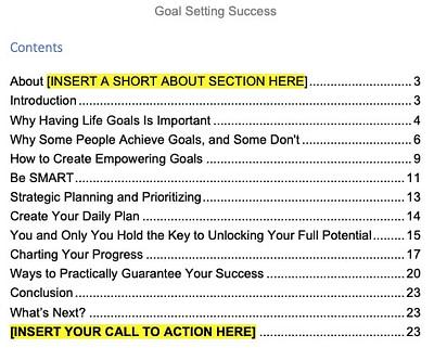 goal-setting-plr-ebook-contents