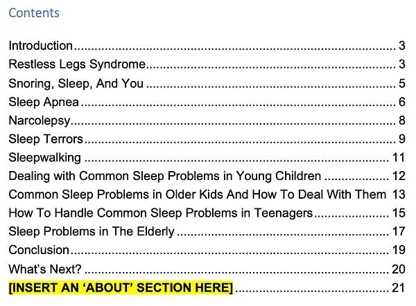 Sleep Problems PLR Screenshot 2 contents