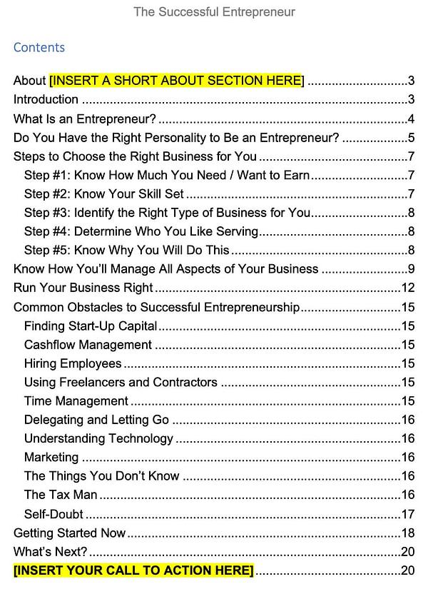 Successful-Entrepreneur-PLR-ebook-contents