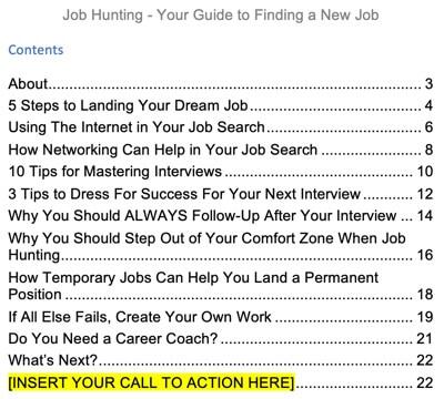 job-hunting-finding-a-job-plr-ebook-report-contents
