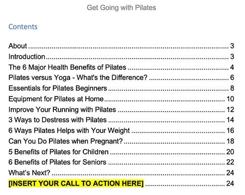 pilates-plr-ebook-contents
