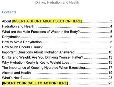 health-drinks-hydration-plr-ebook-contents